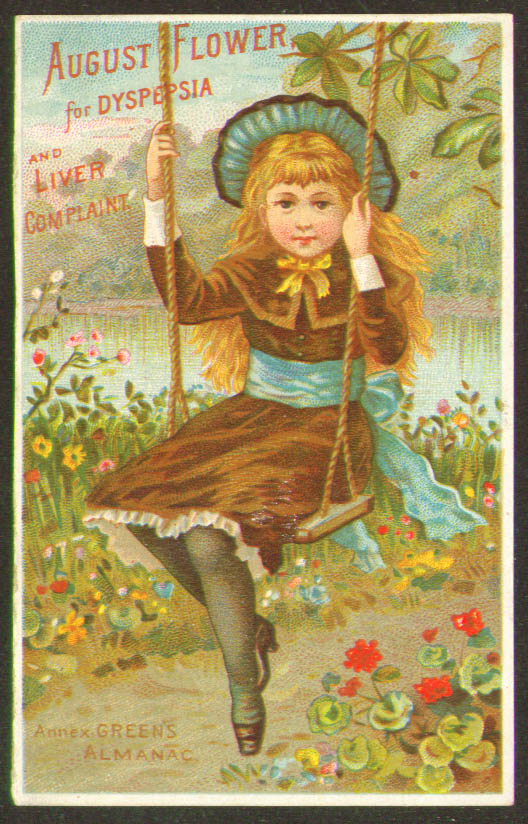 August Flower Dyspepsia girl on swing tradecard 1883