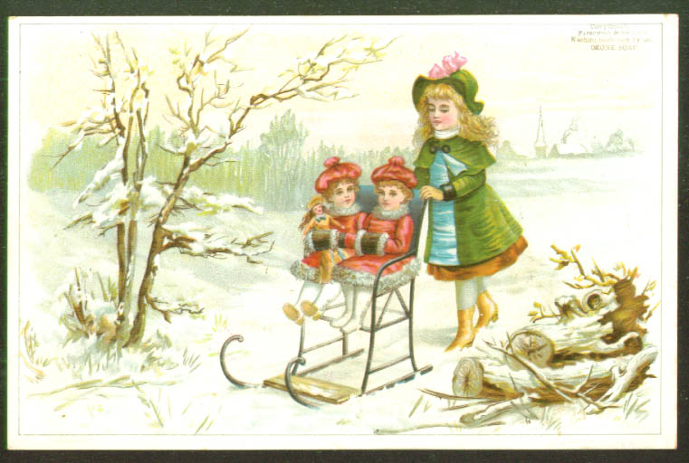 Image for Twins in chair sled muffs dolls trade card 1880s