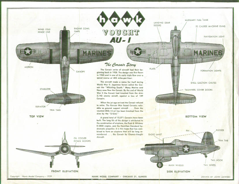 Hawk Vought AU-I Corsair Model Kit sheet 1959