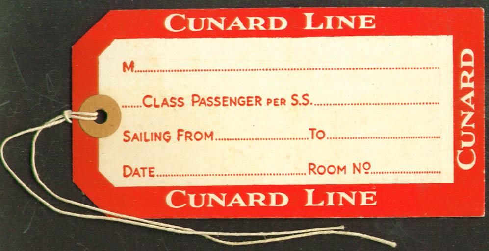 Cunard Line unused baggage tag 1930s