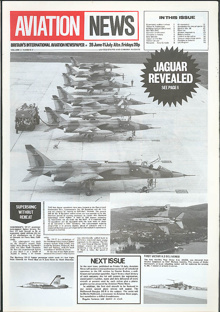 Jaguar YF-17 Avro Lincoln Victor K.2 Aviation News 1974