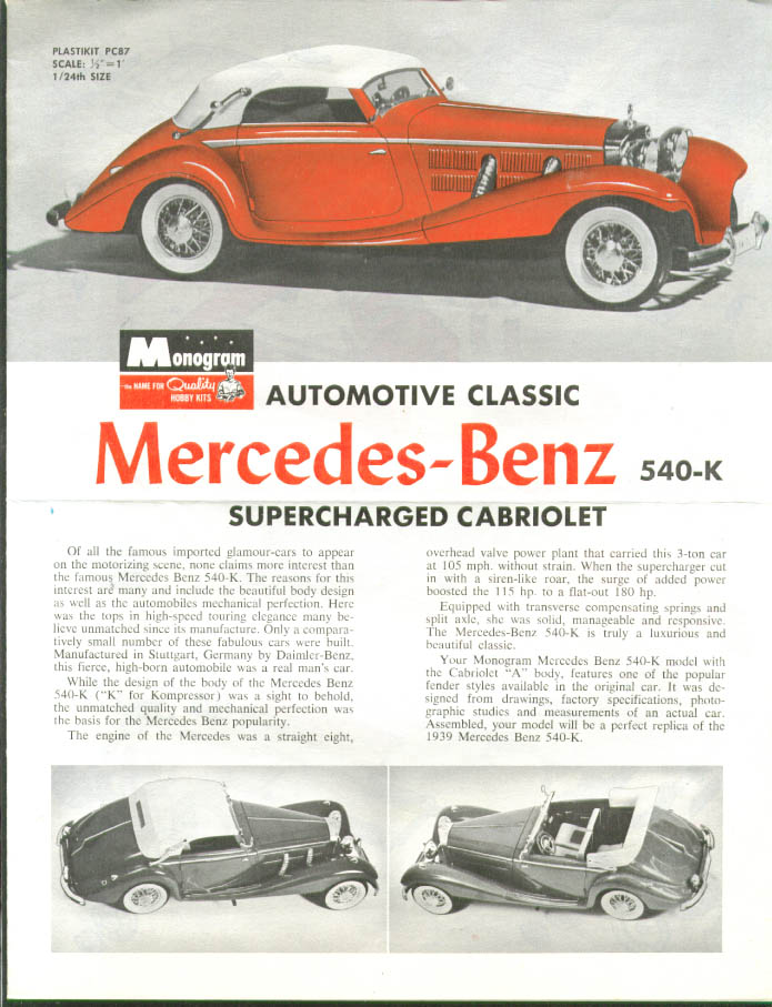 Mercedes-Benz 540-K Monogram Model Kit Instruction 1963