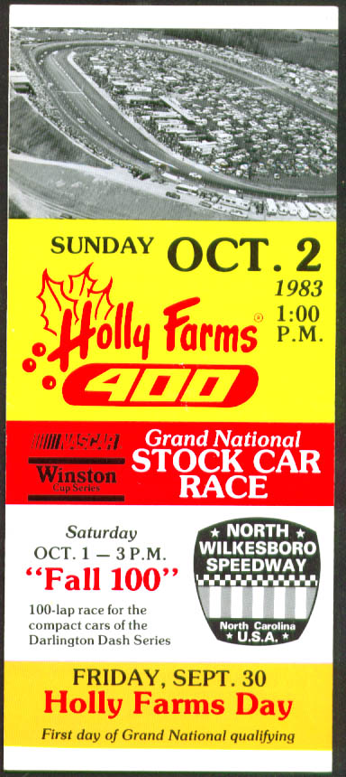 Holly Farms 400 N Wilkesboro Speedway Ticket Info 1983
