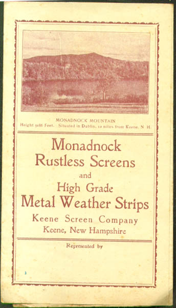 Monadnock Rustless Screens folder Keene NH 1910s