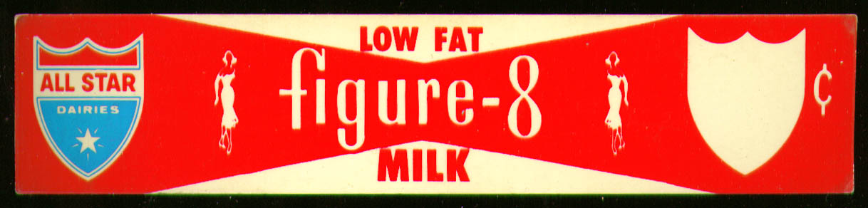All Star Dairies Low Fat Figure-8 Milk shelf price card