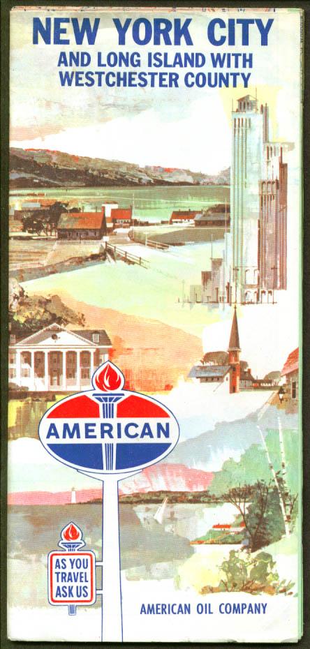American Road Map New York City LI Westchester 1964