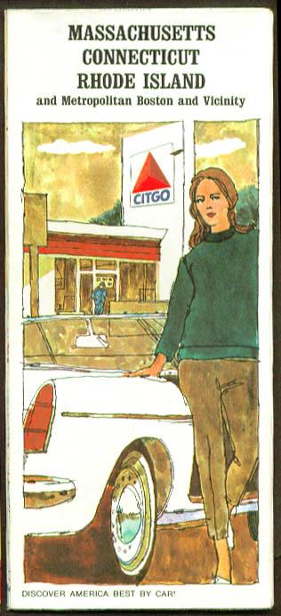 Citgo Road Map Massachusetts Connecticut RI 1967