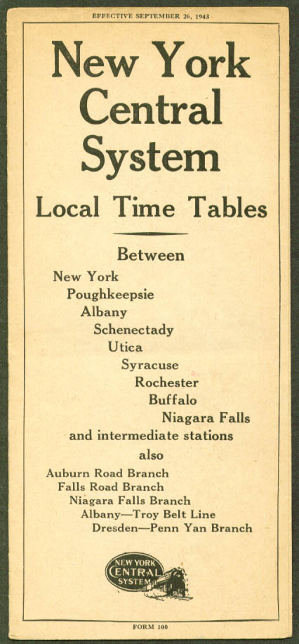 New York Central Time Tables NY-Niagara Falls 1943