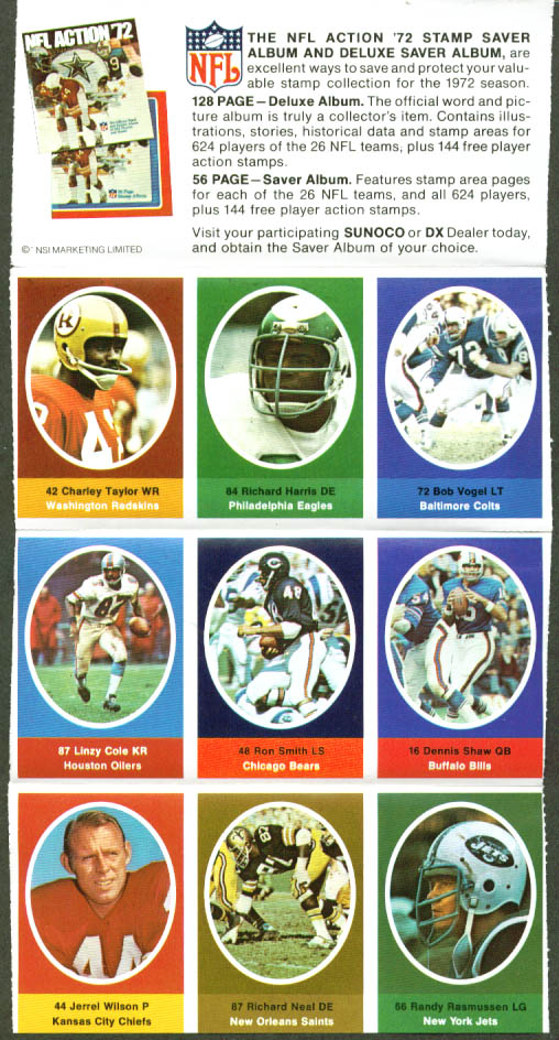 Image for Sunoco NFL Action '72 Stamp set Charley Taylor ++