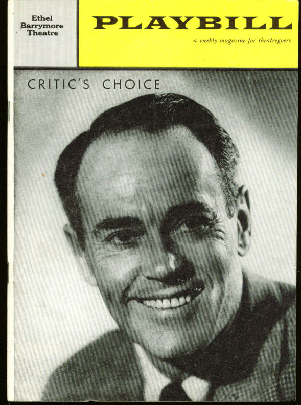 Henry Fonda Critic's Choice Playbill 1st week 1960