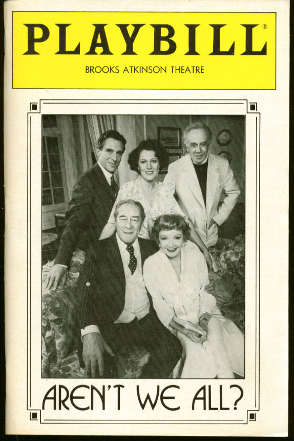 Colbert Rex Harrison Aren't We All Playbill 1st run '85