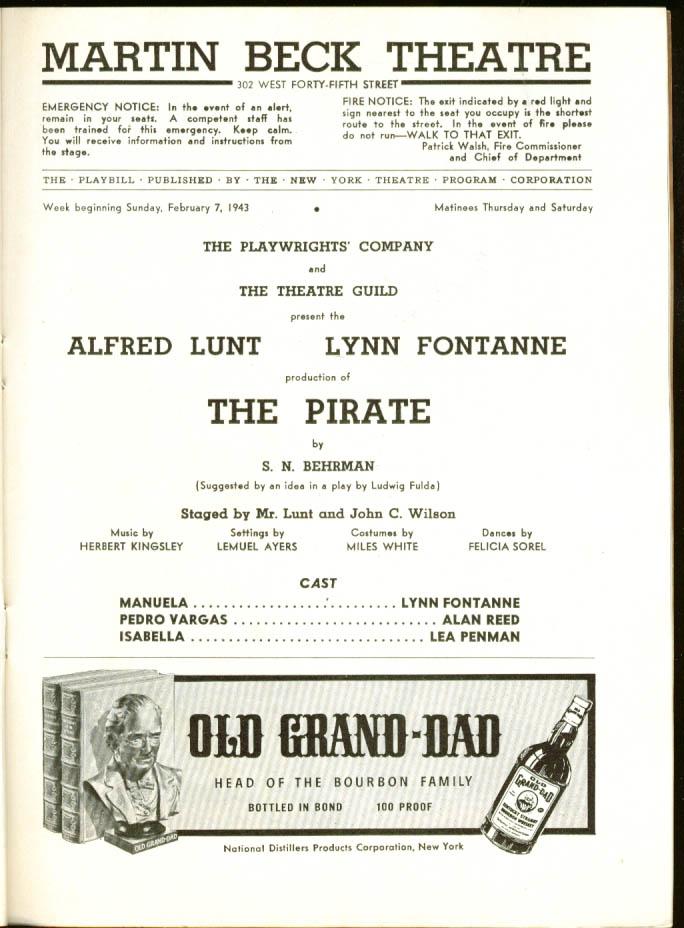 Alfred Lunt & Lynn Fontanne The Pirate Playbill 1st run 1943