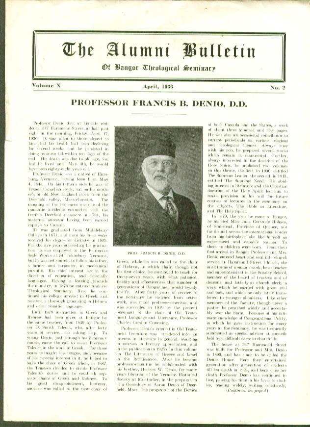 Francis B Denio Bangor Theological Alumni Bulletin 4/36