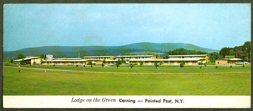 Lodge on the Green Painted Post NY jumbo postcard 1960s