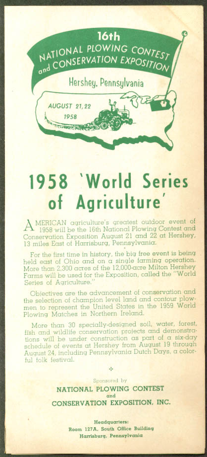 1958 World Series of Agriculture 16th National Plowing Contest & Expo Hershey PA
