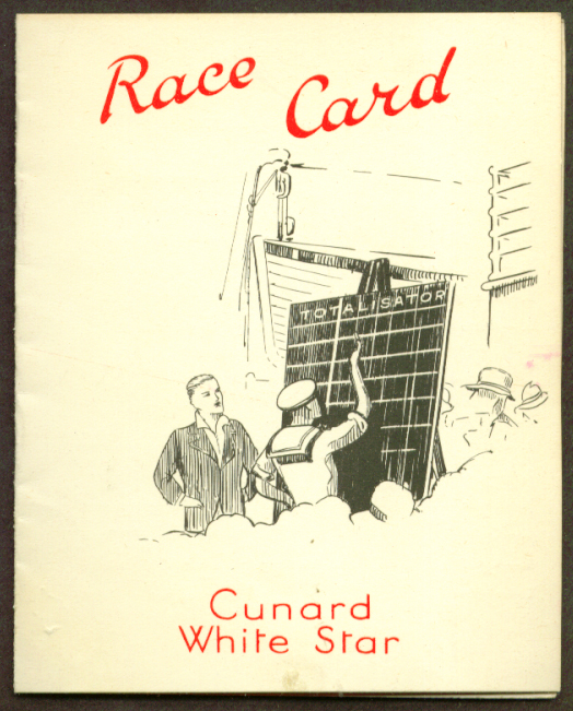 Cunard White Star R M S Queen Amry Race Card 1936