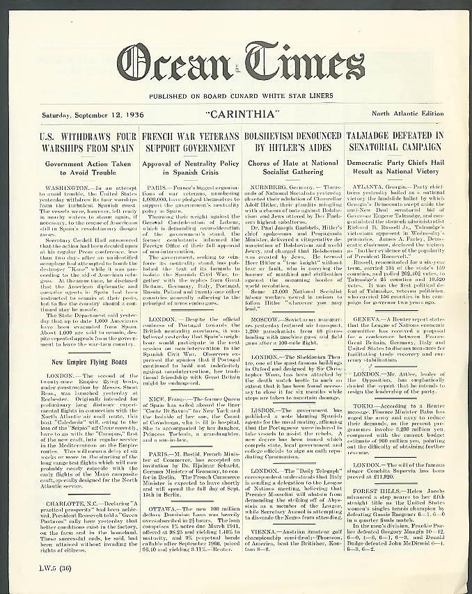Cunard R M S Carinthia Ocean Times 9/12 1936