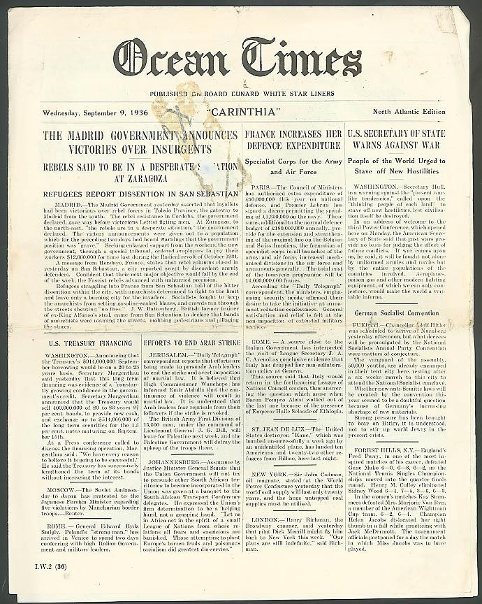 Cunard R M S Carinthia Ocean Times 9/9 1936