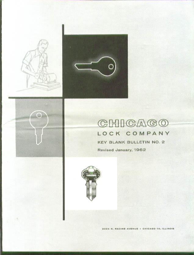 chicago Lock Key Blank Bulletin #2 1 1962