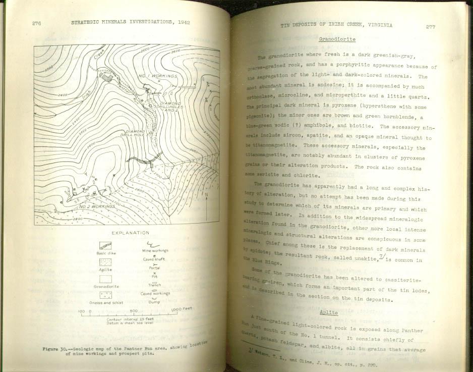 Tin Deposits Irish Creek VA USGS Bulletin 936-K 1942