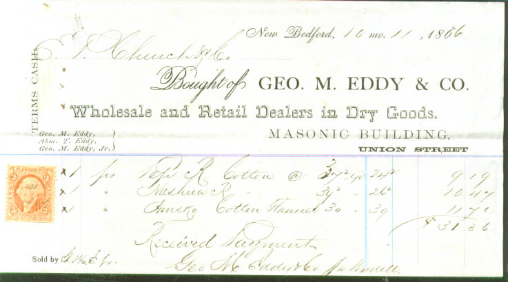 Eddy Dry Goods New Bedford MA & revenue stamp 1866