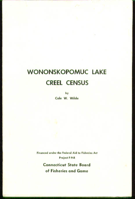 Wononskopomuc Lake Trout Creel Census 1957