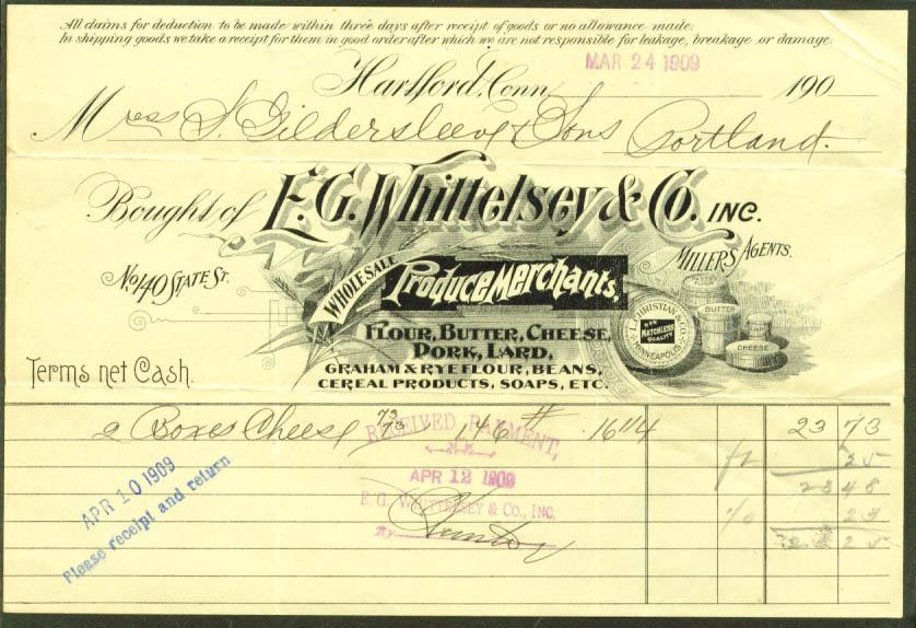 E G Whittelsey Produce invoice Hartford CT 1909
