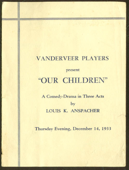 Vanderveer Players Our Children program Brooklyn New York 1933