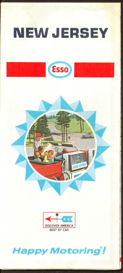 Esso Gasoline Road Map New Jersey 1968