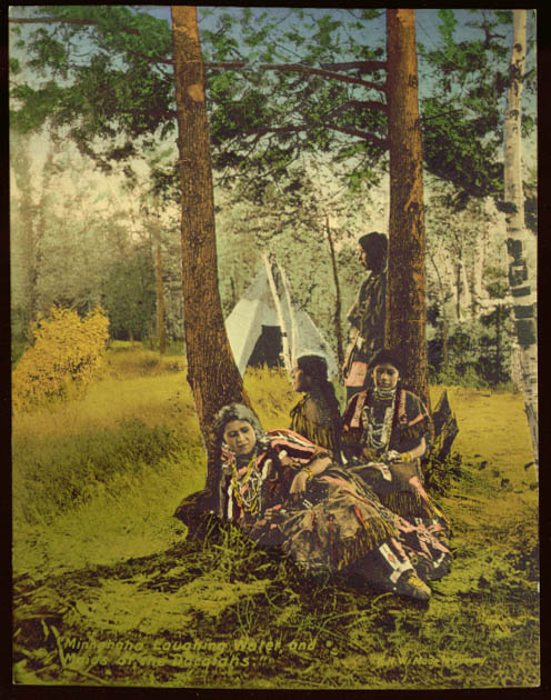 Minnehaha & Maids of Dacotahs hand-colored print 1910s