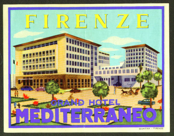 Grand Hotel Mediterraneo Firenze baggage sticker 1930s