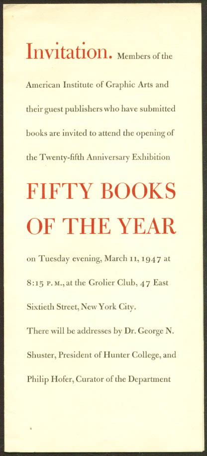 AIGA 50 Books of the Year Exhibit Opening 1947