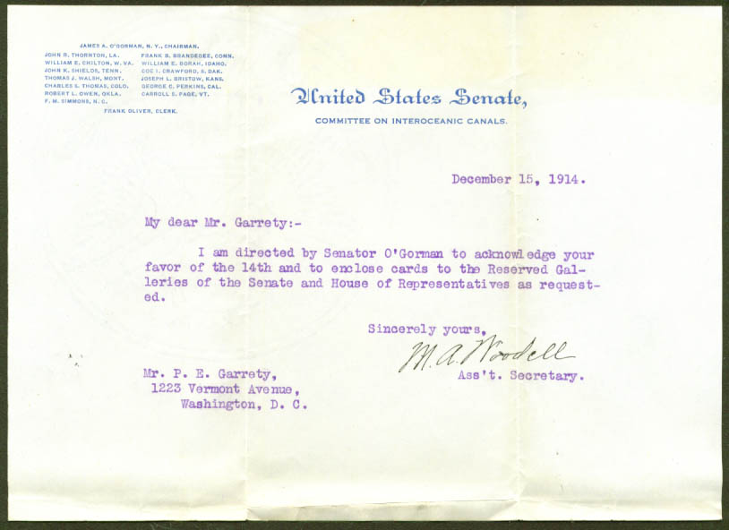 U S Senate Committee Interoceanic Canals letter 1914