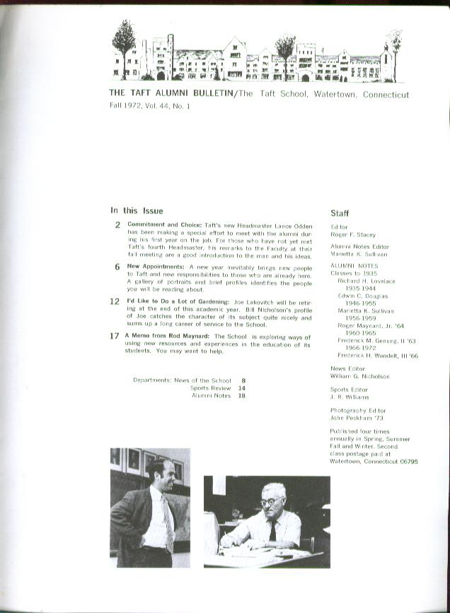 Lance Odden Joe Lakovitch TAFT ALUMNI BULLETIN 1972