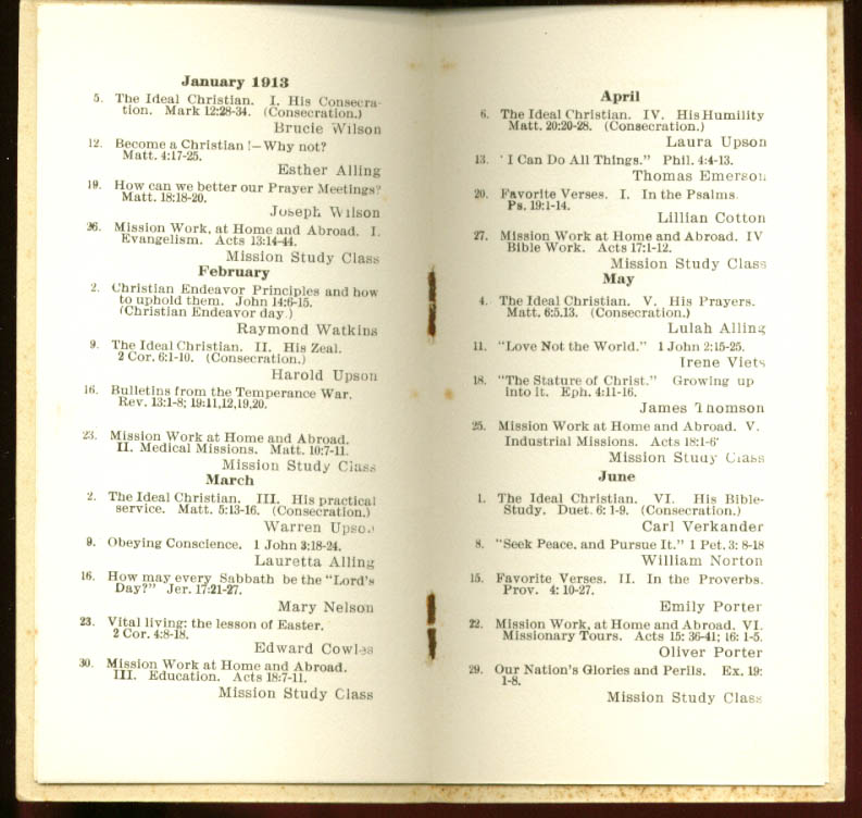 1st Congregational Young People's Kensington CT booklet 1913