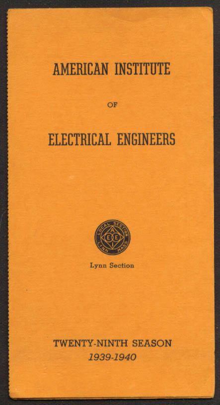 American Institute of Electrical Engineers Schedule 1939-1940