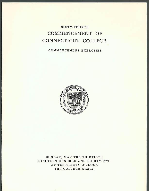 Connecticut College Commencement Program 1982