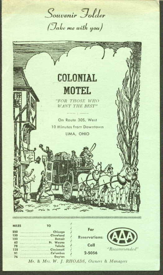 Colonial Motel Lima OH Souvenir Folder 1950s