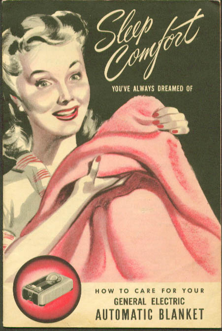 Sleep Comfort GE Electric Blanket care booklet 1947 General Electric