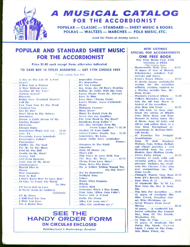 Accordionist Catalog Sheet Music & Accessories 1974
