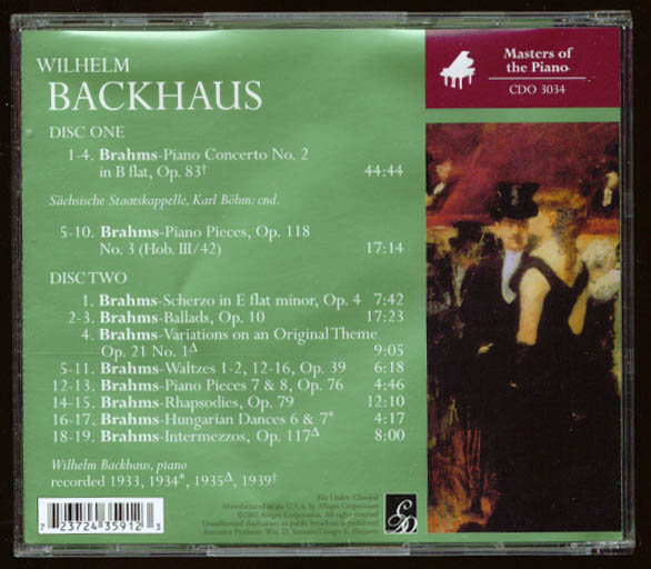 Image for Wilhelm Backhaus Brahms Piano Concerto #2 + CD