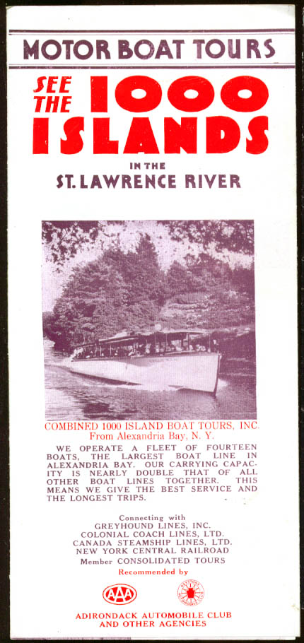 1000 Islands Motor Boat Tours folder 1930s