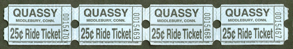 Quassy Amusement Park 25c Ride Tickets run of 4 1950s