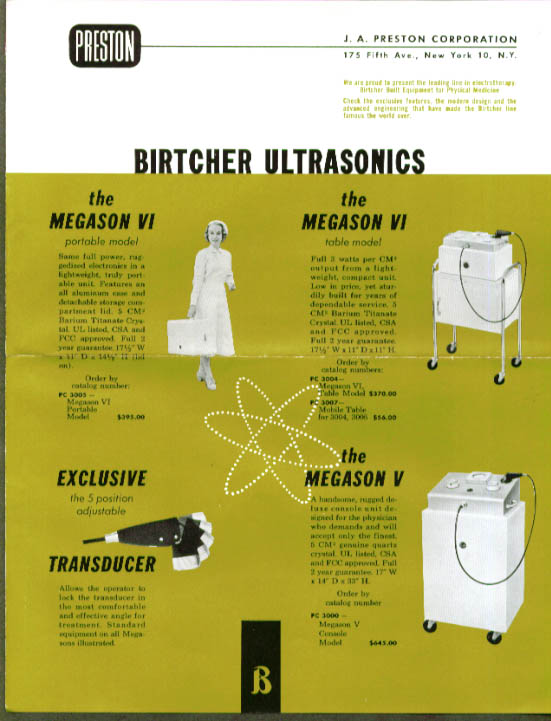 Preston Birtcher Ultrasonic Therapy Machine folder 1950s