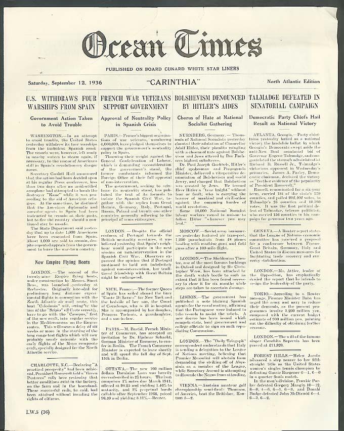 Cunard White Star R M S Carinthia Ocean Times 9/12 1936