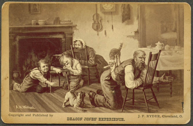 Deacon Jones' Experience chromo card Bret Harte 1874
