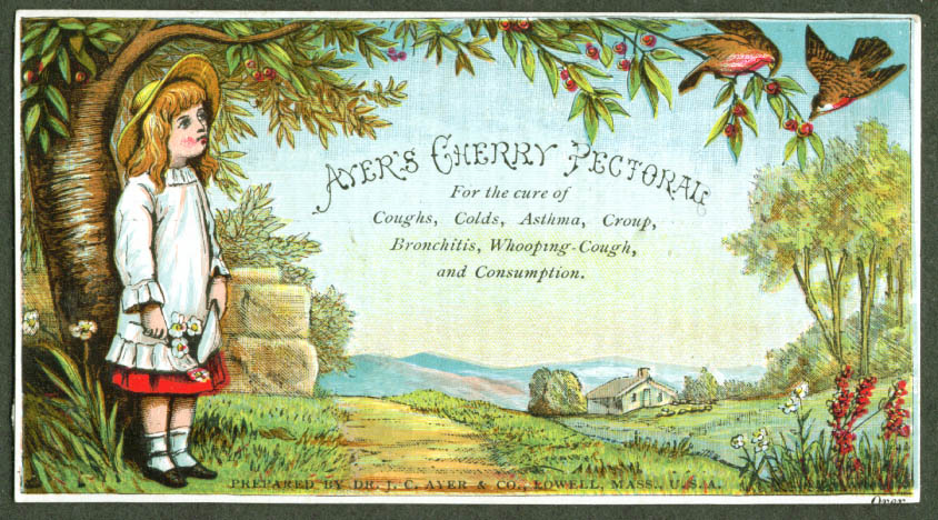 Ayer's Cherry Pectoral girl & birds trade card 1880s
