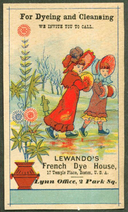 Lewando's Dyeing & Cleaning Boston trade card 1880s