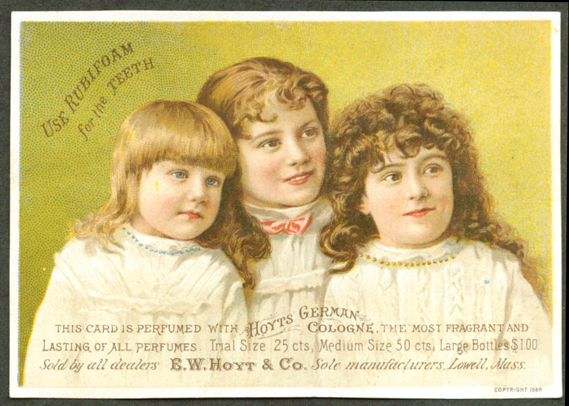 Image for Hoyt's Cologne Rubifoam for Teeth tradecard girls 1880s