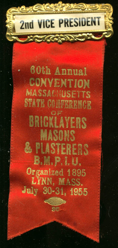 Massachusetts Bricklayers Convention 2nd VP pin 1955